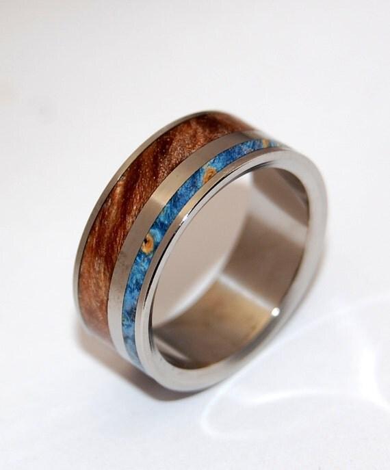 titanium ring, wedding ring, Wooden Wedding Rings, wood ring, maple ring, box elder, mens ring, women's ring - EARTH BY WATER ii
