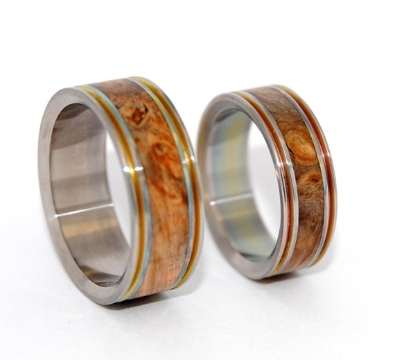 wedding rings, titanium rings, wood rings, mens rings, Titanium Wedding Bands, Eco-Friendly Rings, Wedding Rings - the WIND in THE WILLOWS