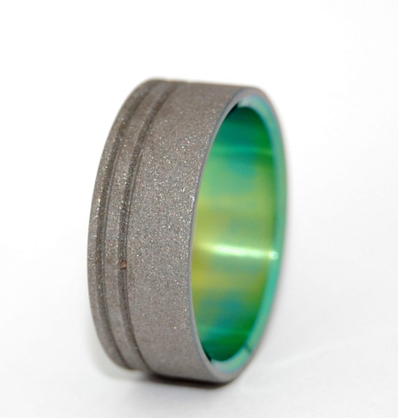 Titanium Wedding Bands, wedding rings, titanium rings, green ring, men's rings, women's rings, commitment bands - TO THE FUTURE green