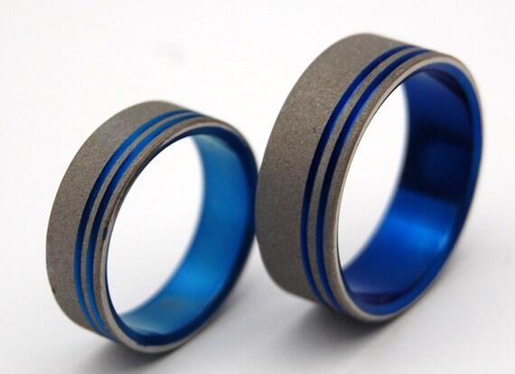 Titanium Sandblasted Commitment Ring Set, Sandblasted Ring, Titanium Wedding Rings, Men's ring, Women's ring, Unique ring - TO THE FUTURE ii