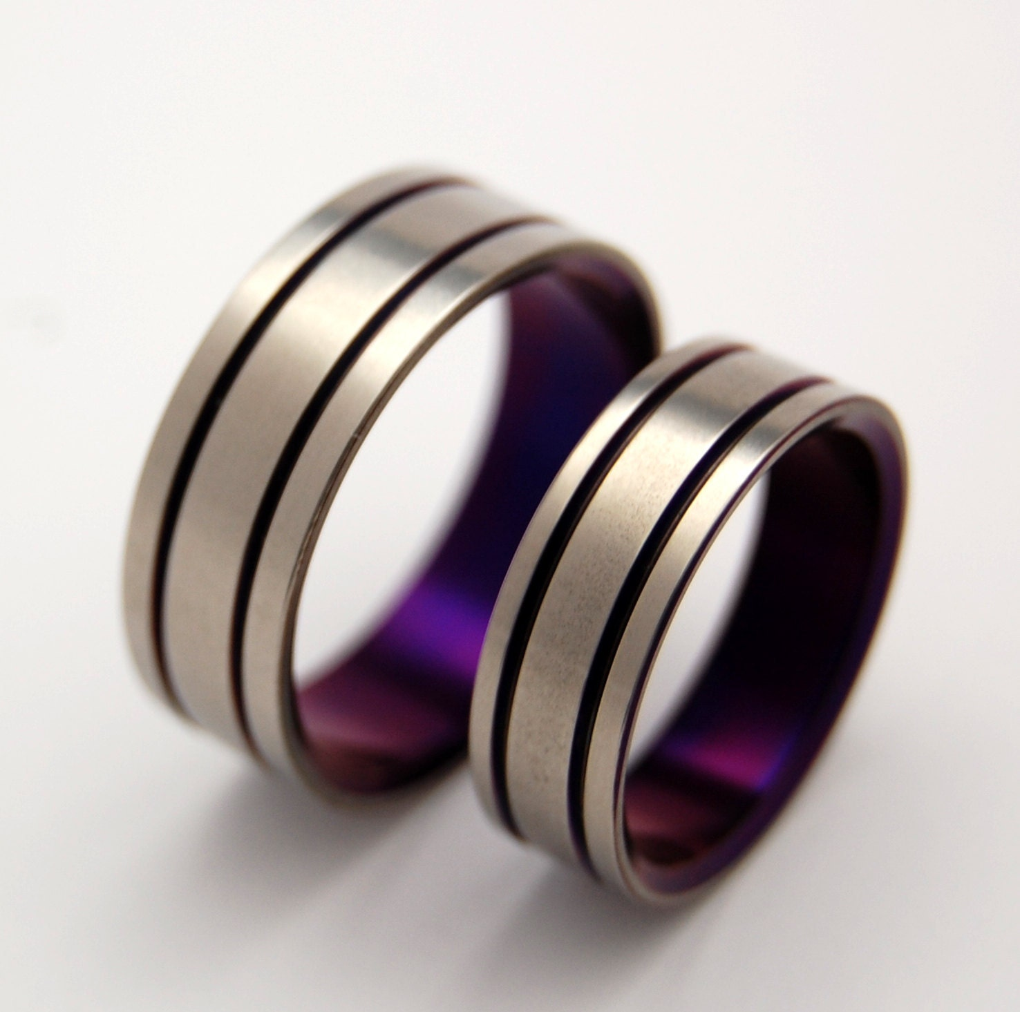 Titanium Wedding Band Set purple wedding ring mens ring