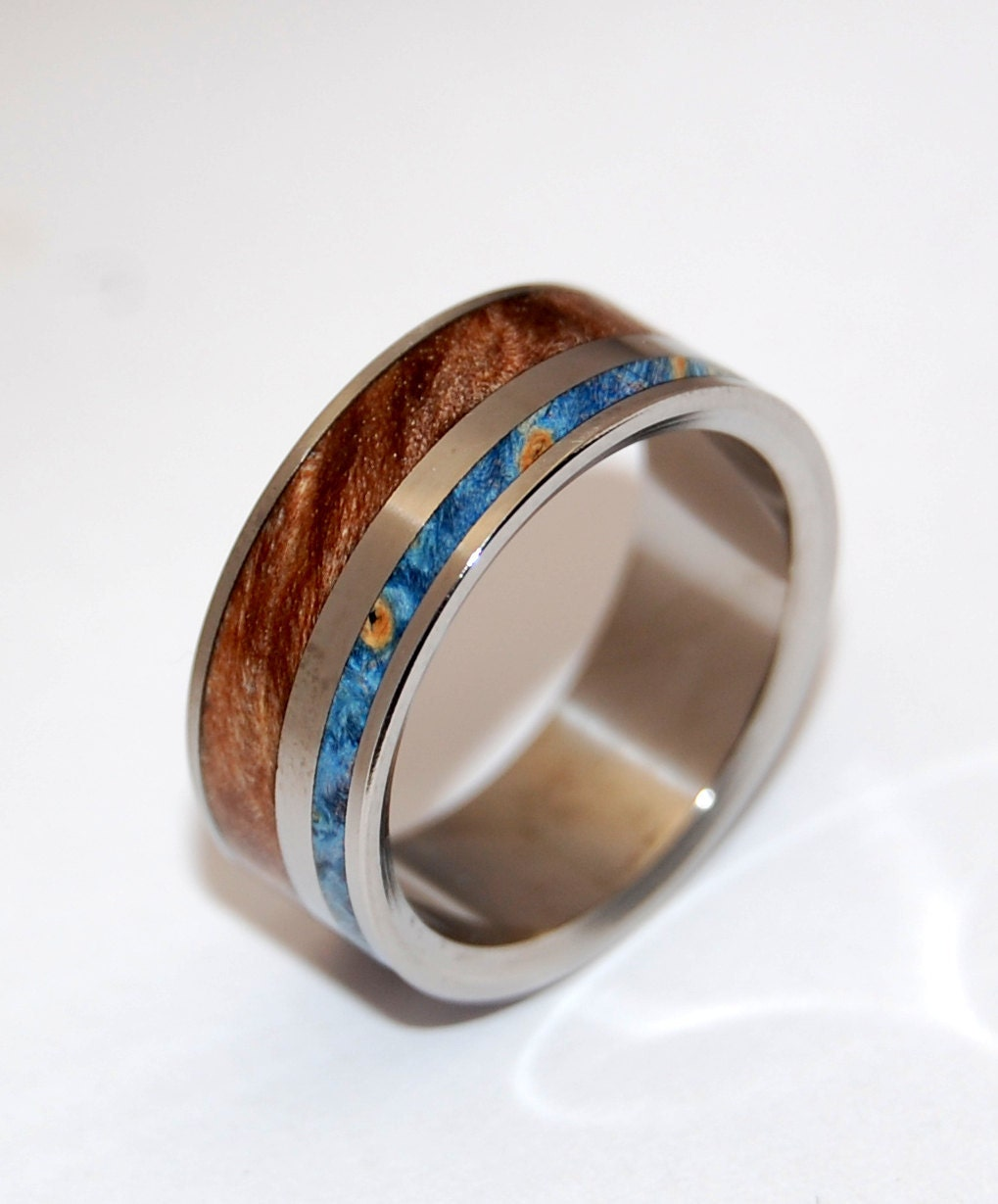 titanium ring wedding ring Wooden Wedding Rings wood ring