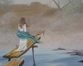 Giclee Print 9x12 in 12x16 Mat : Spiritual, Mist, Dock, Water, Woman, Dream, Soft Colors, Landscape