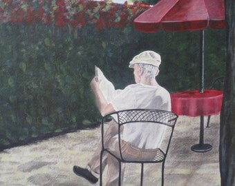 Father / Grandfather Print 9x12 in12x16 Mat, Newspaper, Morning Coffee, Umbrellas, Outdoor Cafe, Grandpa, Journalist, News
