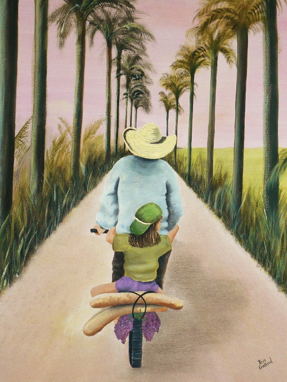 Father and Daughter Giclee Print 9x12 in 12x16 Mat.  Child, Grandfather, Tropical, Palm Trees, Bicycle, South Pacific Island