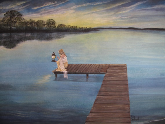Print 12x9 in 16x12 Mat.  Lake, Dock, Summer Vacation, Landscape, Blue, Dawn, Sunrise, Trees, Morning, Romantic, Woman, Girl