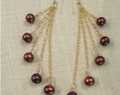 Chocolate Pearl Earrings with Five Pearls