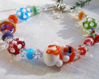 Snowman Bracelet, Winter Bracelet, Holiday Bracelet, Snowflakes