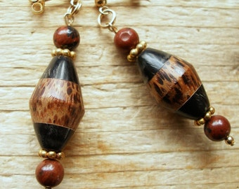Palmetto Wood Earrings with Mahogany Obsidian Accents