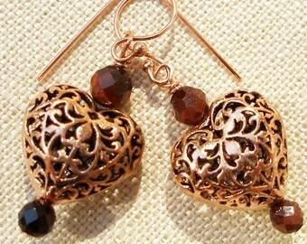 Copper Heart Earrings of Lacy Filigree