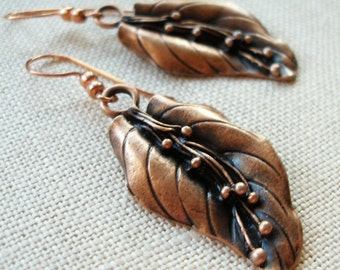 Leaf Earrings, Copper Anodized
