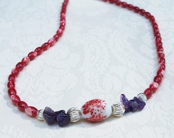 Amethyst Necklace, Amethyst and Red Mother of Pearl