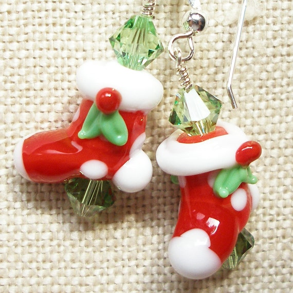 Christmas Stocking Earrings, Red Stockings, Christmas, Winter, Red