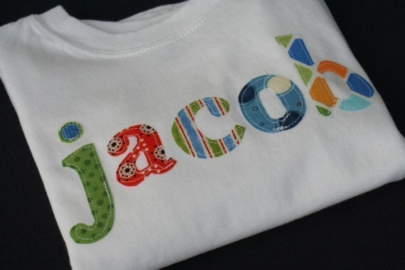 The Name Shirt--A Collage of Blue Green Orange and Red-Great for Boys or Girls