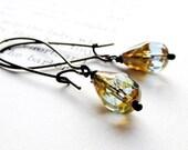 Handmade brass earrings blue glass -- LULA