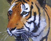 Original Oil painting - portrait of a tiger