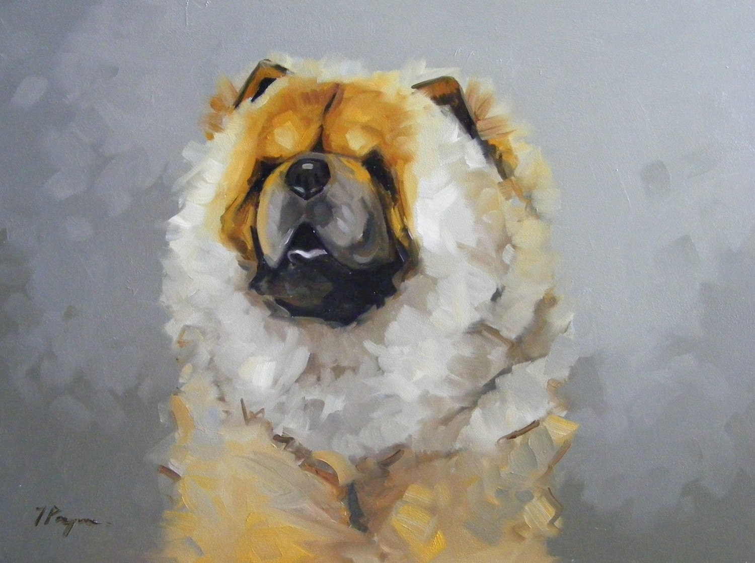 Original oil painting portrait of a chow chow by for Painting of your dog