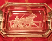 Trotter Horse Reverse Etched Glass Ashtray