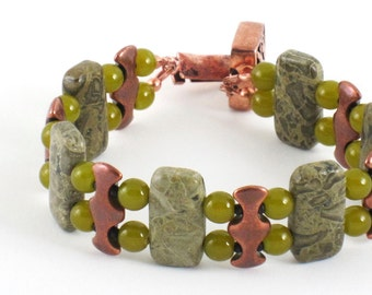 Green Jade Bracelet Copper Handmade Bracelet