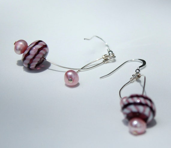 Pink Lampwork Earrings Handmade Dangles