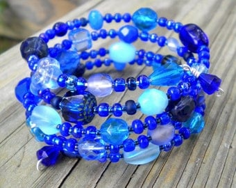 Bracelet Blue Beaded Wrap Cuff
