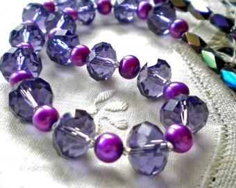 Necklace Purple Crystals Violet Pearls