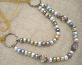 Necklace Pearls Tiered Multi Color Hand Knotted Vintage Inspired