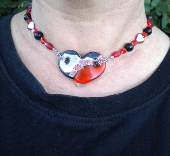 Necklace Red & Black Beaded Dichroic Glass - Queen of Hearts - FREE SHIPPING