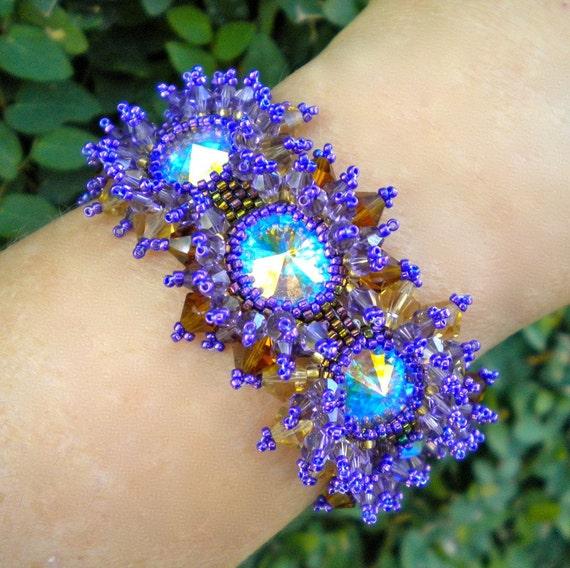 Bracelet Purple Topaz Crystal Sunbursts