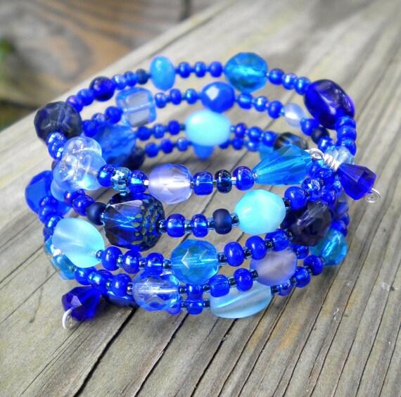 Bracelet Blue Beaded Wrap Cuff