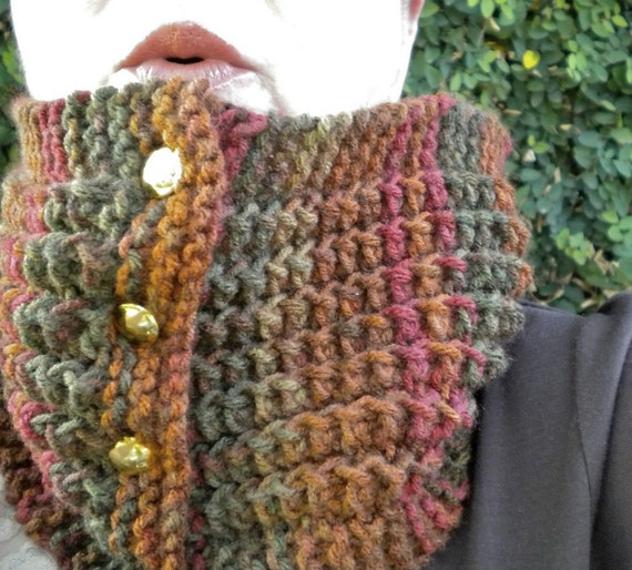 Knit Cowl Brown Green Rust Autumn Colors Button-Up - FREE SHIPPING