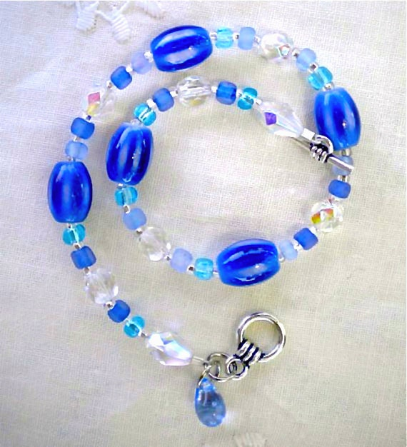Anklet Blue Aqua Ocean and Sky 9.5 in. (24.1 cm)