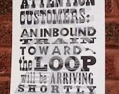Chicago El Inbound Train Letterpress Print BLACK SILVER