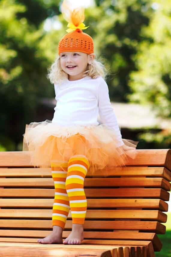 Candy Corn Tutu Halloween Costume (Tutu, Hat and Leg Warmers)