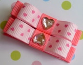 POLKA HEARTS - Set of 2 Boutique Style Hair Bow Clips - Baby / Toddler / Girl