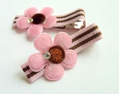 PINK FLOWERS - Set of 2 felt hair clip