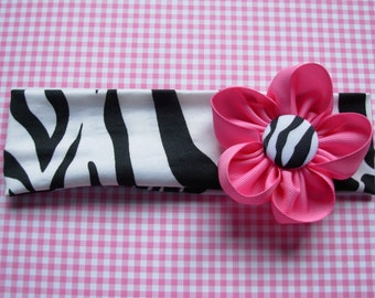 Zebra headband with flower