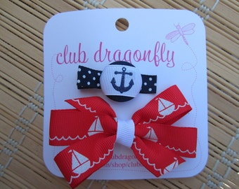 Nautical Bow and Clip Set