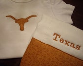 Texas Longhorn Onesie and Burp Cloth