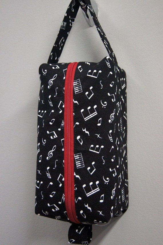 Toiletry / Travel Bag - Black Musical Notes with Red Zipper