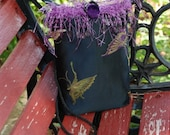 Night on the Town Purse - Black satin with butterflies and purple trim