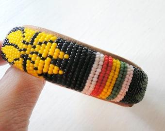 SALE Native American Indian Beaded Tribal Bangle Bracelet Southwestern Jewelry