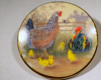 Brooch Hen Chickens Rooster Porcelain