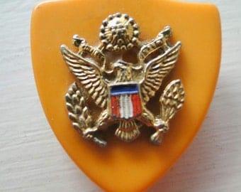Patriotic Bakelite Brooch Eagle Shield