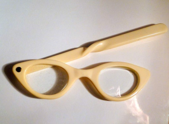 Plastic Folding Opera Glasses Lorgnette Cat Eye Spectacles with Case