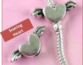 Tattoo or Soaring Heart with Wings - Fits European Style Bracelets