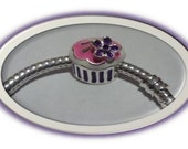 PINK and PURPLE CUPCAKE Charm - Fits European Style Bracelets