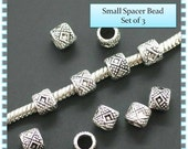 Small Decorative Spacer Beads - Set of 3 - Fits European Style Bracelets