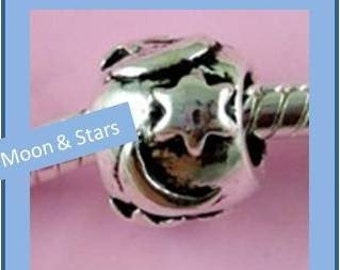 Star and Moon Spacer Bead - Fits European Style Bracelets