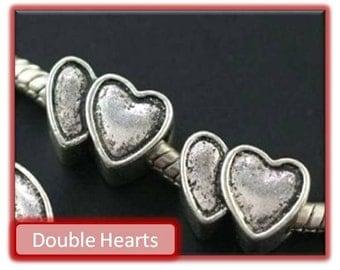 Double Hearts Bead - Fits European Style Bracelets